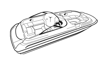 Illustration of a Deck Boat with Walk Thru Windshield or Side Console