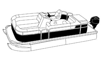 Illustration of a Pontoon with Rails that Partially Enclose Decks- Leaving Open Deck at Front and Rear