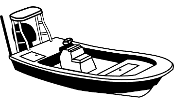 Line Art - Center Console Blunt Nose / Rounded Bow Bay Style Fishing Boat w/ Shallow Draft Hull w/ Poling Platform